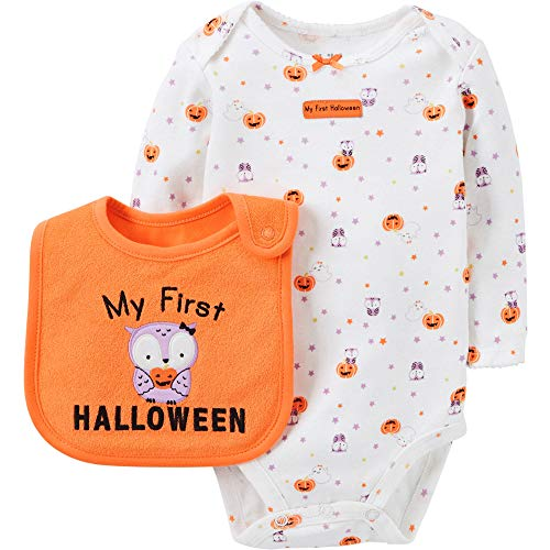 (Carter's Child of Mine Girl's First Halloween Bodysuit and Bib Set (0-3)