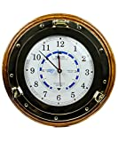 Beautiful Navy Style Time Tide Clock | Nautical Brass Decor Gift | Nagina International (14 Inches)