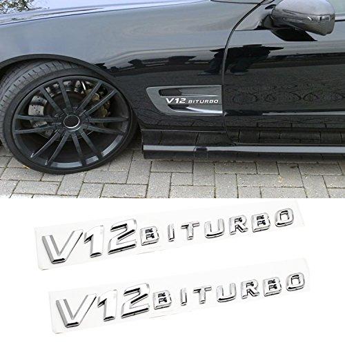 Ricoy For Mercedes-Benz SLCL65 CLS600 S65 AMG Black V12 BiTurbo Badge 3D Emblem