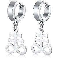 Stainless Steel Sigil of Lucifer Clip On Earring Mini Satanic Symbol Baphomet Occult Dangle Earrings for Men Women