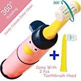 NeWisdom Best electric toothbrush kids, 360° rotating deep clean FAST brushing Electronic Toothbrush for kids,Top gifts for 4 5 6 7 8 year old girls (Battery Powered Pink 4-8)