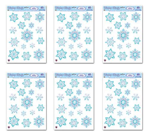 Blue Crystal Snowflake - Beistle S22132AZ6 Crystal Snowflake Clings 6 Sheets, 12