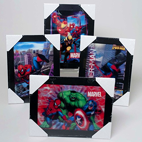 """Spider Man, Iron Man Wolverine, Captain America and the Hulk 10"""" X 13"""" Framed 3D Picture in Frame (4 Pictures)"""