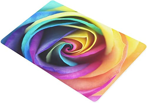 INTERESTPRINT Watercolor Multicolored Rainbow Rose Flower Doormat Non Slip Indoor Outdoor Floor Door Mat Home Decor, Entrance Rug Rubber Backing Large 30 L x 18 W