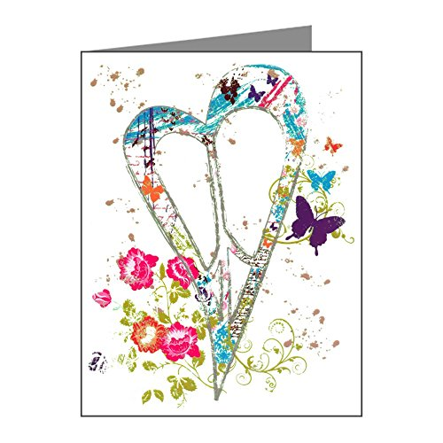 Note Cards (10 Pack) Flowered Butterfly Heart Peace Symbol
