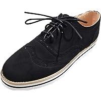 Morrivoe Sneakers, Punta Redonda de Las Mujeres de Color sólido Tobillo Plano Ante Casual Encaje Zapatos de Deporte Calzado Deportivo cómodo Transpirable Zapatillas Deportivas