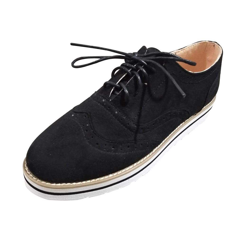 Creazrise Women's Perforated Lace-up Wingtip Leather Flat Oxfords Vintage Oxford Shoes Brogues (Black,7)