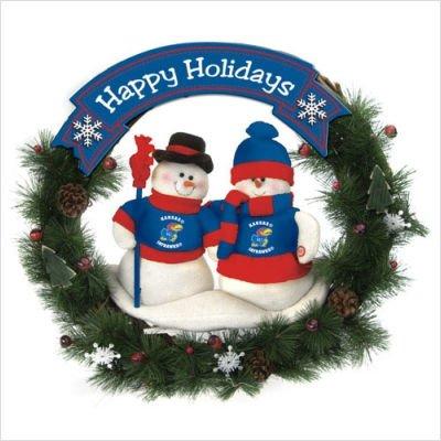 NCAA Snowman Christmas Wreath NCAA Team: Kansas ()