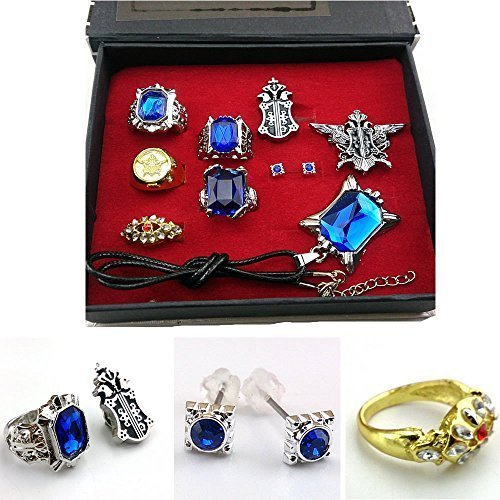 Cosplay Black Butler Ciel Sebastian Ring Necklace Earring Studs Set by HiRudolph by HiRudolph
