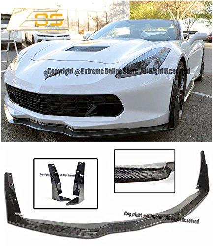 - Z06 Z07 Stage 3 Style Carbon Fiber Front Bumper Lower Lip Splitter Spoiler Wing With Carbon Flash Metallic Side Extension Winglets For 14-Up Chevrolet Corvette C7 2014 2015 2016 2017 14 15 16 17