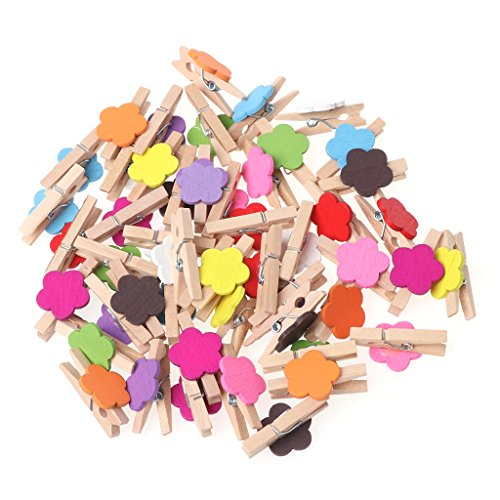 SimpleLif 50Pcs Colored Flower Mini Wooden Craft Clips Card Photo Paper Peg Pin Clothespin Mixed Color