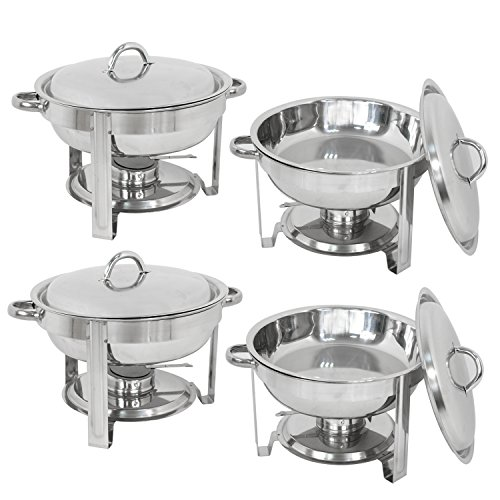 F2C 4 Pack of 5 Quart Full Size Stainless Steel Round Chafing Dish Chafingdish