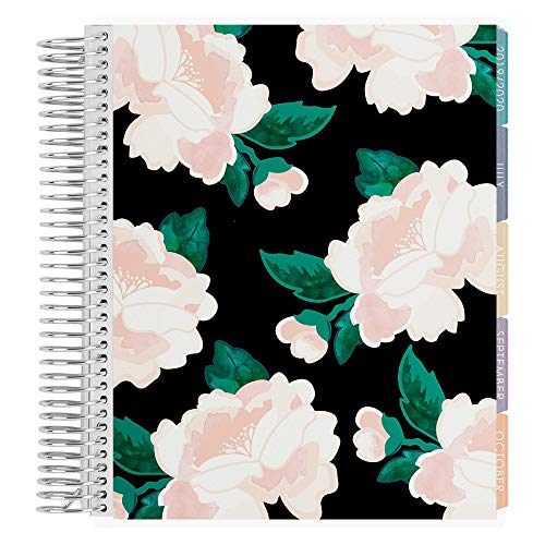 Erin Condren 18-Month 2019-2020 Coiled Life Planner 7x9 (July 2019-December 2020) - Blossom Black, Horizontal (Colorful Layout)