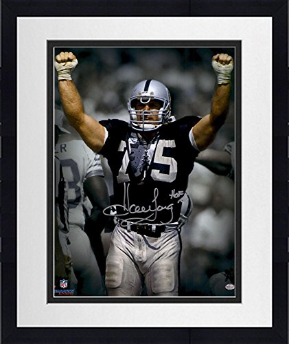 Framed Howie Long Oakland Raiders Autographed 16  X 20  Spotlight Arms Up Photograph With Hof 00 Inscription   Fanatics Authentic Certified