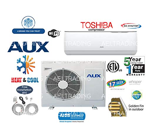 Aux- Air Conditioner Inverter+ Ductless Wall Mount Mini Split System Air Conditioner & Heat Pump Full Set, 12000 BTU 115V with WiFi