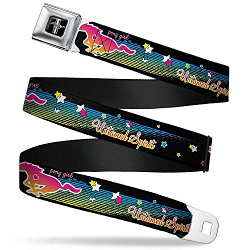 Mustang Ford Belt Seat Belt (Buckle-Down Seatbelt Belt - Mustang PONY GIRL UNTAMED SPIRIT/Stars Black/Multi Color - 1.0