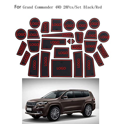 qotone 28pcs/Set Car Door Pad Gate Slot Mat Non-Slip Interior Decoration Replacement for Jeep Grand Commander 4WD