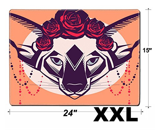 MSD Extra Large Mouse Pad XXL Extended Non-Slip Rubber Large Gaming Desk Mat IMAGE 30728555 Fashion portrait of cat in a wreath of roses and beads ()