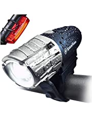 Eagle Eye USB Rechargeable Bike Light Set by Apace - Powerful 300 Lumens LED Bicycle Headlight and Tail Light - Super Bright Front Light & Rear Light for Optimum Cycling Safety