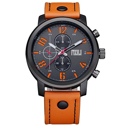 Men Watch Orange Mens Analog Wrist Watches Quartz Fashion Waterproof Classic Gifts Leather Strap - Orange Womens Watch