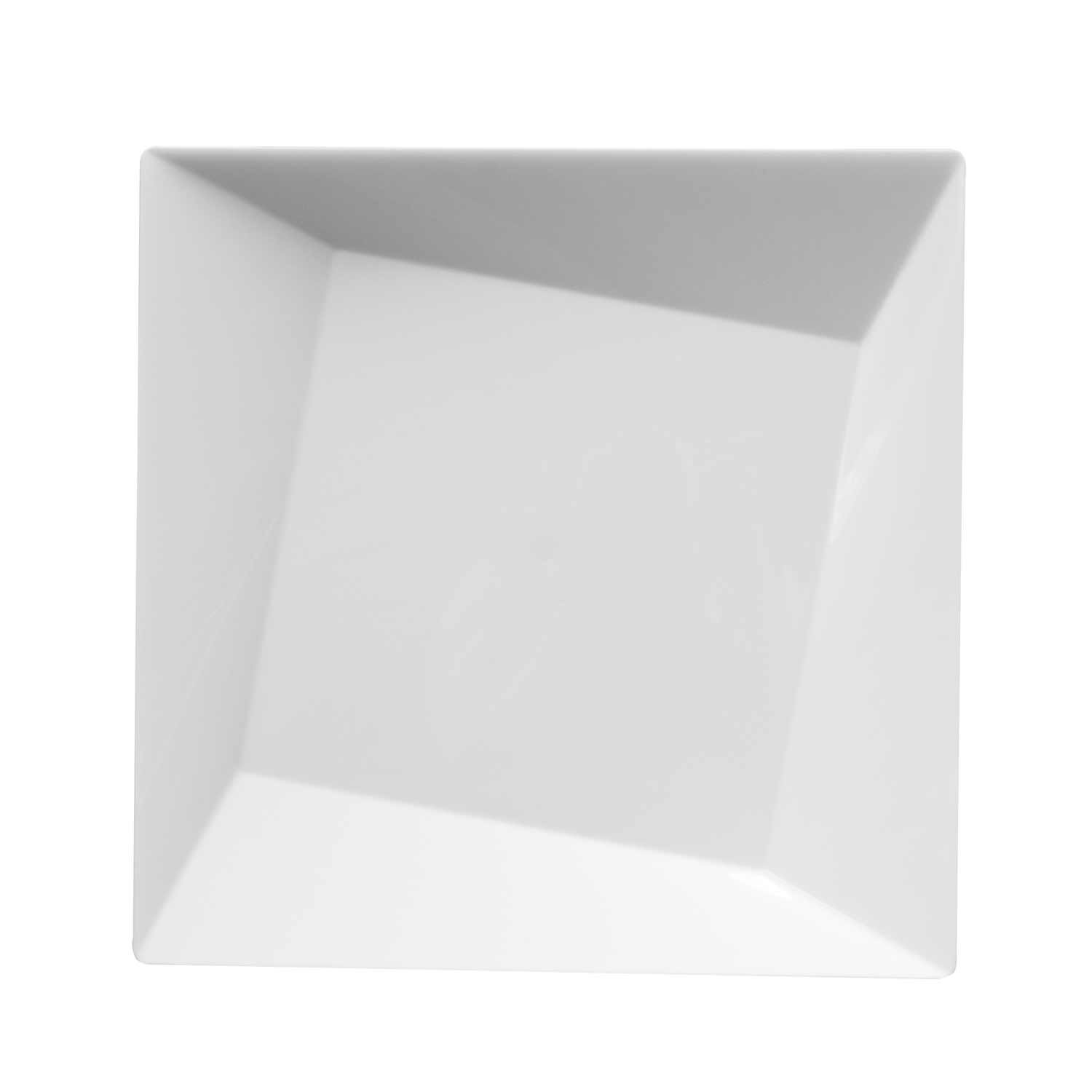 Party Essentials 10-Count Hard Plastic 9.5'' Twisted Square Lunch/Dinner Plates, White