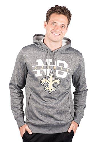 Icer Brands NFL New Orleans Saints Men's Fleece Hoodie Pullover Sweatshirt Zipper Pocket, Medium, Gray