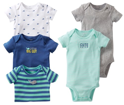 Carter's Baby Boys' 5 Pack Whale Bodysuits - Assorted