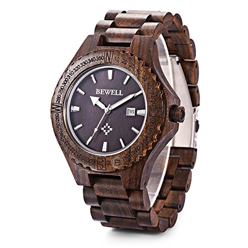 Bewell W023A Natural Wooden Watches for Men with Calendar Quartz Lightweight Wrist Watch (Bezel Calendar Wrist Watch)