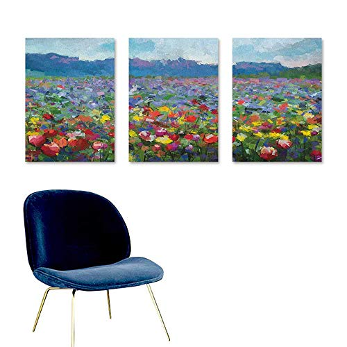 Agoza Art Abstract Oil Paintings Rural Landscape with Bunch of Tulip Flower Spring Meadow Refreshing Botany Blurry Image for Home Decoration Wall Decor 3 Panels 16x24inch Multicolor