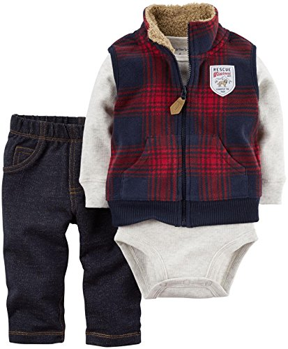 Carter's Baby Boys' Vest Sets, Red, Newborn