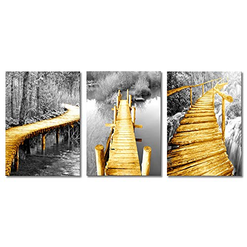 as Prints Wall Art Nature Scenery Country Fall Forest Tree Jungle Lake Wooden Bridge Artwork Pictures Painting for Living Room Bedroom Posters Framed (12
