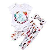 Newborn Baby Girls Floral Heart Peach Print Romper Long Pants with Bowknot Headband Outfit Set (3-6 Months, Short Sleeve(White))