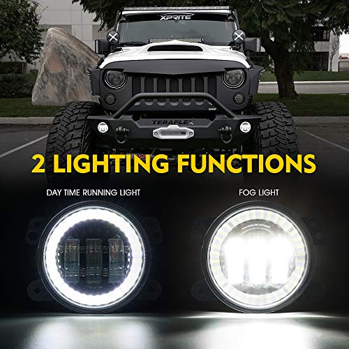Xprite 4 Inch 60W CREE LED Fog Lights with White Halo Ring DRL | Foglights for 07-18 Jeep Wrangler JK Off Road | Front Bumper Replacements Fog Lamps