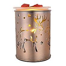 COOSA Electric Incense Burner Metal Elk Pattern Warm Wax Tart Burner for Home Office Bedroom Living Room (Elk)