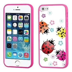 One Tough Shield ? Hybrid Flexible/Rigid Phone Case (Pink Bezel) for Apple iPhone 5 5s - (Ladybug)