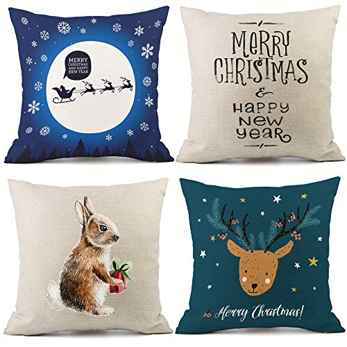 Redland Art Merry 4 Pack,Happy Christmas Animal Pattern Throw Pillow Case Cushion Covers 18 X 18 Inch Cotton Linen Pillowcases Decorative ()