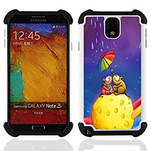Dragon Case- Dise?¡Ào de doble capa pata de cabra Tuff Impacto Armor h??brido de goma suave de silicona cubierta d FOR Samsung Galaxy Note3 N9000 N9008V N9009- LOVE ART COLORFUL CHEESE RAINBOW UMBRELLA