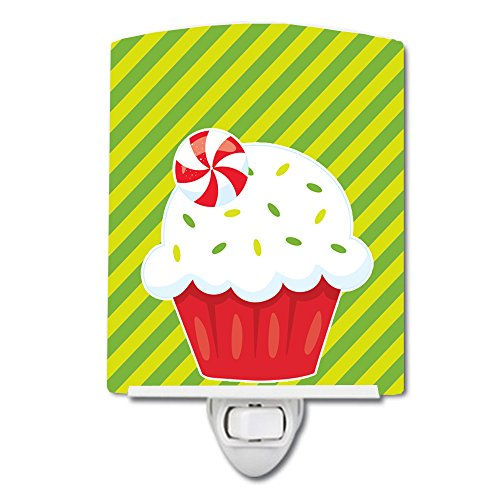 (Caroline's Treasures Christmas Ceramic Night Light, Peppermint Cupcake, Green, 6
