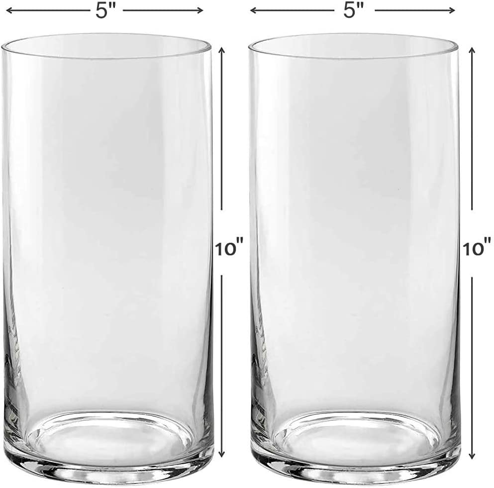 Set of 2 Glass Cylinder Vases 10 Inch Tall X 5 Inch Round - Multi-use: Pillar Candle, Floating Candles Holders or Flower Vase – Perfect as a Wedding Centerpieces.