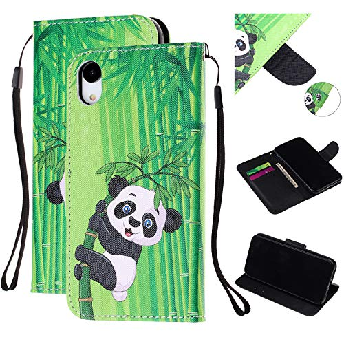 Amocase Hand Strap Leather Case with 2 in 1 Stylus for iPhone XR,Colorful Printed Premium Magnetic Wallet PU Leather Stand Shockproof Card Slot Case for iPhone XR 6.1 inch - Cute Panda Bamboo ()