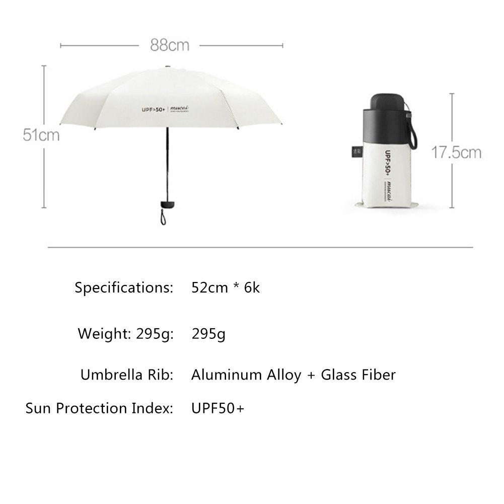 Parapluie de compact avec Plat poign/ée pour Voyage et Sorties en Plein Air Blanc Parapluie Pliant Anti-UV Parapluie /à 5 Rabats Parapluie Pliable avec 6 Nervures UPF50