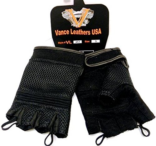 Mesh Fingerless Gloves with Heavy Duty Gel Suede Palm and Pull Tabs