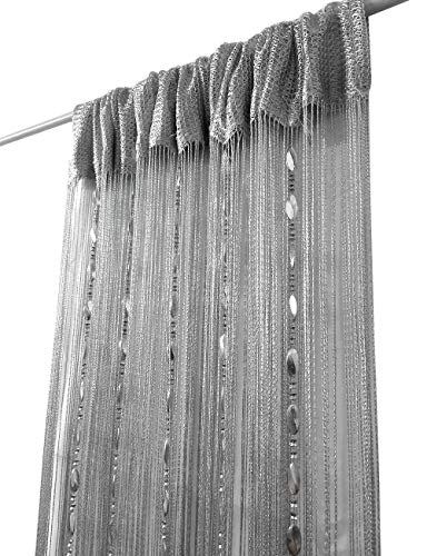 ave split 100cmX200cm Decorative Door String Curtain Beads Wall Panel Fringe Window Room Divider Blind for Wedding Coffee House Restaurant Parts Door Divider Beads Tassel Screen Decoration (silver25)