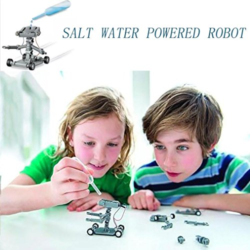 Livoty Salt Water Powered Robot Kit DIY Mini Without Battery Safe Creative Children toy (Blue)