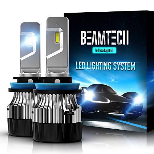 2016 Nissan Sentra Bases - BEAMTECH H11 LED Headlight Bulb,30mm Heatsink Base CSP Chips 10000 Lumens H8 H9 6500K Xenon White Extremely Super Bright Conversion Kit of 2