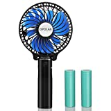 Appliances : OPOLAR Portable Battery Operated Fan with Two 2200mAh Batteries, Personal Handheld Fan with Folding Design, Compact and Mini Size for Travel & Camping, Strong Wind with 3 Settings