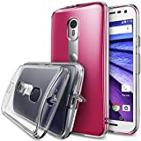 Moto G 2015 Case, Ringke [Fusion] Crystal Clear PC Back TPU Bumper w/ Screen Protector [Drop Protection/Shock Absorption Technology][Attached Dust Cap] For Motorola Moto G 3rd Gen - Crystal View