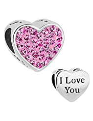 925 Sterling Silver I LOVE YOU Pink Birthstone Heart Charms Crystal Bead Fits Pandora Charm Bracelet