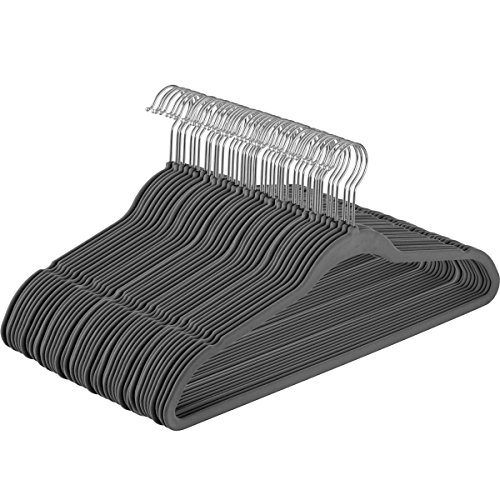 Melvado Non-slip Velvet Flat Hangers   50-Pack  Closet Space Savers  Suitable for Suits, Dresses, Pants, Jackets, Tops   Deep Notches for Straps   Teen and Adult Shirt Hangers  Grey