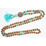 Healing CHAKRA Beads Necklace Turquoise Jade Rudraksha Energy Prayer Tibetan Japamala